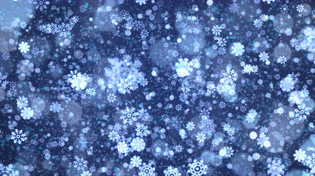 Blue abstract Christmas snowflakes background. Computer generated seamless loop animation.