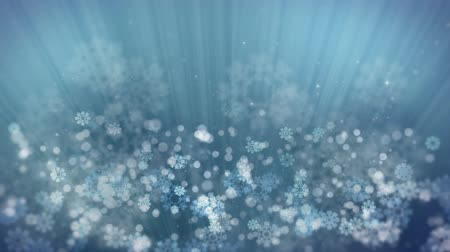 Blue Holiday Rays with Glittering Star and Snowflakes. Computer Generated Seamless Loop Abstract Animation. Vídeos