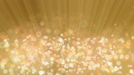 Gold Holiday Rays with Glittering Star and Snowflakes. Computer Generated Seamless Loop Abstract Animation. Vídeos