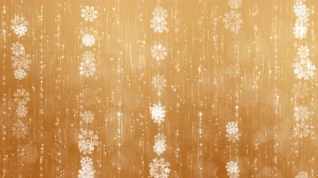 Gold snowflakes background. The circles are slowly flying. Computer generated seamless loop abstract animation. Vídeos