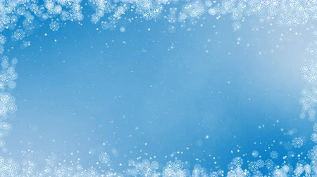 New year frame background. Abstract winter card animation with snowflakes, stars and snow. Computer generated seamless loop. Vídeos