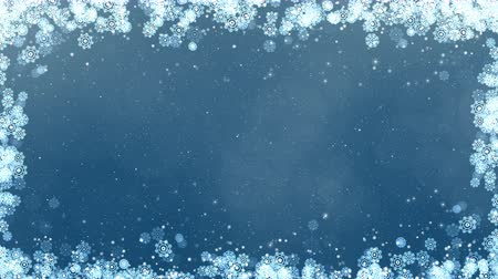 Blue new year frame background. Abstract winter card animation with snowflakes, stars and snow. Computer generated seamless loop. Vídeos
