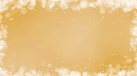 Gold new year frame background. Abstract winter card animation with snowflakes, stars and snow. Computer generated seamless loop.