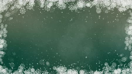 Green new year frame background. Abstract winter card animation with snowflakes, stars and snow. Computer generated seamless loop. Vídeos