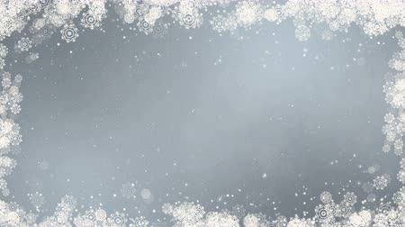 Gray new year frame background. Abstract winter card animation with snowflakes, stars and snow. Computer generated seamless loop.