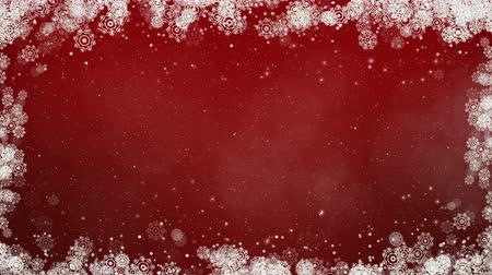 Red new year frame background. Abstract winter card animation with snowflakes, stars and snow. Computer generated seamless loop.