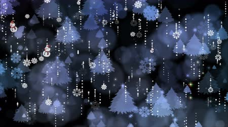 Snowflakes and christmas tree are slowly flying. Computer generated seamless loop abstract background.