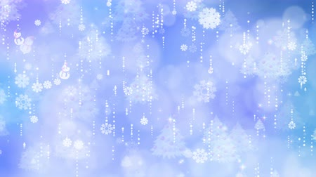 Blue snowflakes and christmas tree are slowly flying. Computer generated seamless loop abstract background. Vídeos