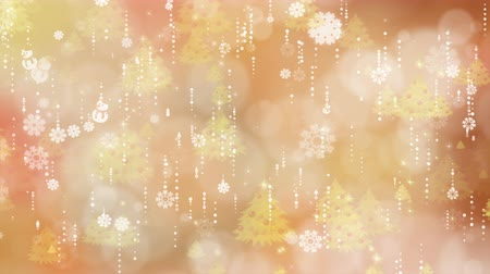 Gold snowflakes and christmas tree are slowly flying. Computer generated seamless loop abstract background.