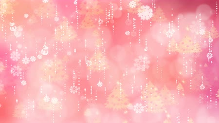 Rose snowflakes and christmas tree are slowly flying. Computer generated seamless loop abstract background.