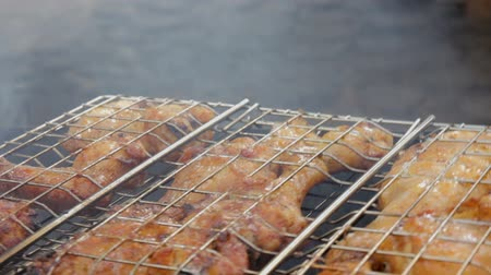 Roasted chicken meat is inverting on the grill in summer day on a picnic until it is fully cooked. Vídeos
