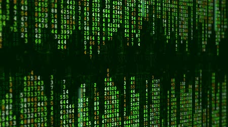 numerical code : Green high-tech background. Abstract digital binary matrix effect. Computer generated seamless looping animation.