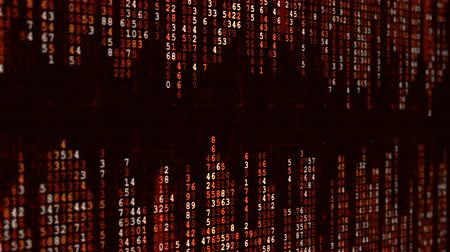 numerical code : Red high-tech background. Abstract digital binary matrix effect. Computer generated seamless looping animation. Stock Footage