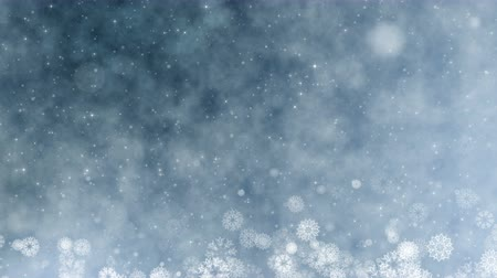 bg : Christmas holiday greeting video card. Winter with snowflakes, stars and snow. Seamless loop abstract new year background.