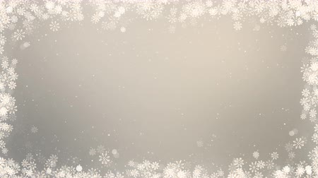 New year frame background. Winter greeting video card with snowflakes, stars and snow. Seamless loop abstract christmas animation.