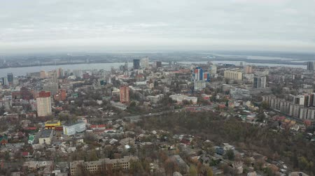 Birds eye view from drone on downtown area of Dnipro city. Panoramic 4k video footage from quadcopter. (Dnepr, Dnepropetrovsk, Dnipropetrovsk).