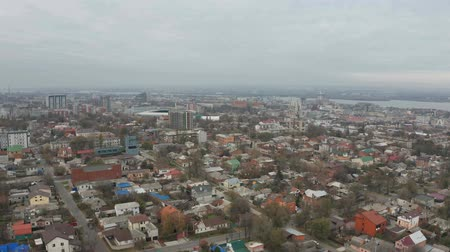 Aerial drone shot of Dnipro cityscape and skyline. Flying over roofs of buildings. 4k footage. (Dnepr, Dnepropetrovsk, Dnipropetrovsk).