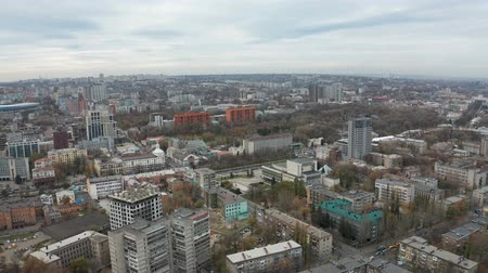 Aerial view footage on from drone of central part of big city. Panoramic cityscape on the background of the sky.