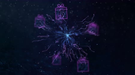 Motion in space through digital Christmas decorations. Seamless abstract looping animation for winter holiday theme. Vídeos