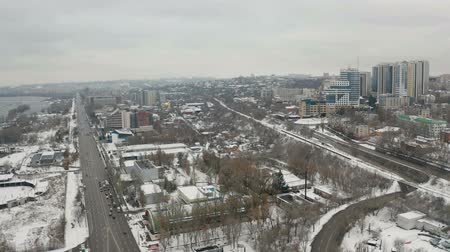 Winter panoramic aerial view from drone of cityscape of Dnipro city. (Dnepr, Dnepropetrovsk, Dnipropetrovsk). Ukraine
