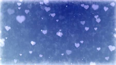 congelado : Frosty hearts on frozen background. Seamless loop animation of Valentines Day holiday.