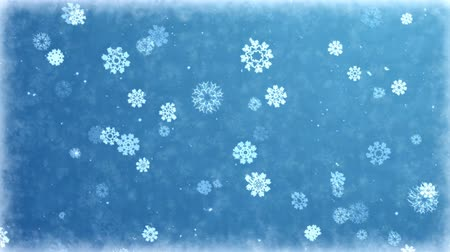 Falling snowflakes on frozen background. Seamless loop animation of winter holiday. Vídeos