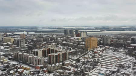 Aerial view of cityscape at winter in Dnipro city. (Dnepr, Dnepropetrovsk, Dnipropetrovsk). Ukraine Vídeos