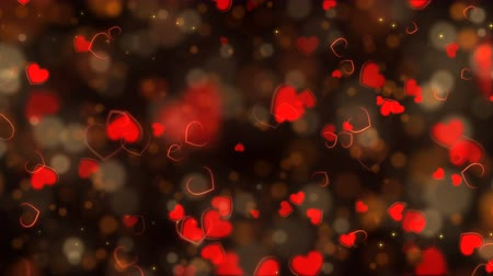 Red abstract hearts background. Seamless loop Valentines Day holiday animation.