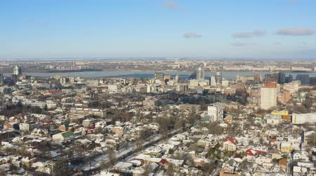 4K Urban birds eye view of Dnipro city skyline. Winter cityscape background. (Dnepr, Dnepropetrovsk, Dnipropetrovsk). Ukraine