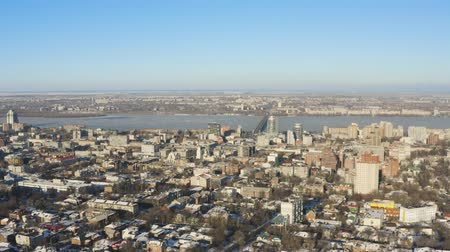 Birds eye view of Dnipro city skyline. Winter cityscape background. (Dnepr, Dnepropetrovsk, Dnipropetrovsk). Ukraine Dostupné videozáznamy