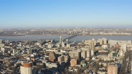 Aerial view of Dnipro city skyline. Winter cityscape background. (Dnepr, Dnepropetrovsk, Dnipropetrovsk). Ukraine