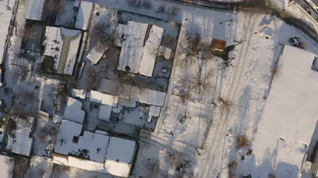 Aerial view of Dnipro city rooftops patio. Winter cityscape background in sunny day. (Dnepr, Dnepropetrovsk, Dnipropetrovsk). Ukraine.