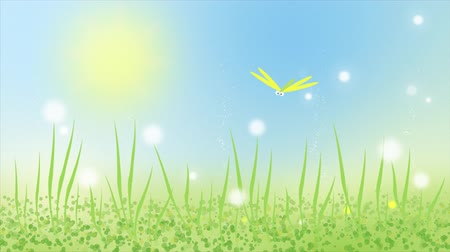 Colorful animation of dragonfly on summer meadow with green grass. Seamless loop animated cartoon cute background.
