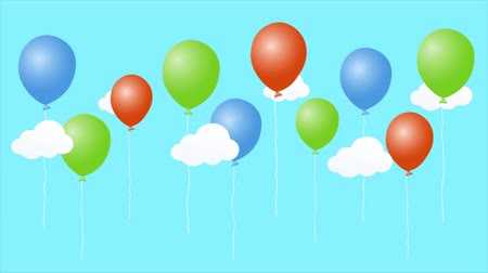 Colorful animation of cartoon air balloons with clouds. Happy birthday video card. Seamless loop cute animated background.