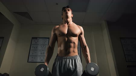 male : Strong man, bodybuilder exercising with dumbbells in a gym
