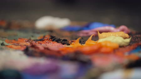 oilpaint : Artists oil paints multicolored closeup abstract background Stock Footage