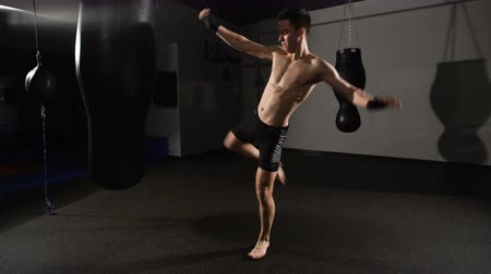 sağlam : muscular handsome fighter giving a forceful forward kick during a practise round with a boxing bag. Stok Video
