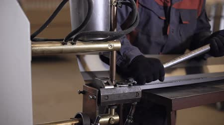 fotokopi makinesi : Spot welding machine Industrial automotive part in factory Stok Video