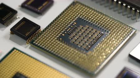 intel : computer processor and electronic components on white background