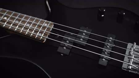 headstock : Electric Black Bass Guitar