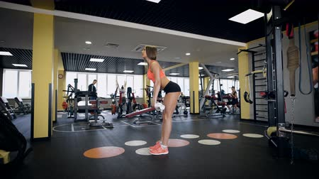 retouched : Girl engaged in with a bar in the gym. Stock Footage