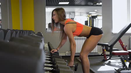 fit : Sporty girl doing exercise with dumbbells in the gym