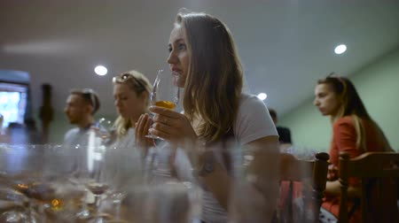 bílé víno : Group of young people on a wine tasting. Girl with a glass of wine, it tastes the drink taste and smell.