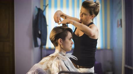 kuaför : Beautiful girl in a beauty salon. Professional stylist makes to the woman a new stylish haircut. Stok Video
