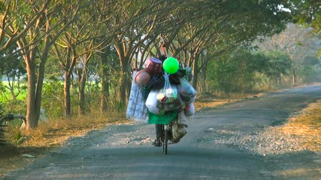 market vendor : Vendor Man on bicycle with carrying balloons and handicrafts at a roadside, nature background. Stock Footage