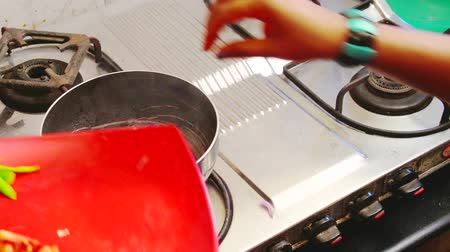 picado : Onion and Spices are fried in a frying pan. women work at kitchen Stock Footage