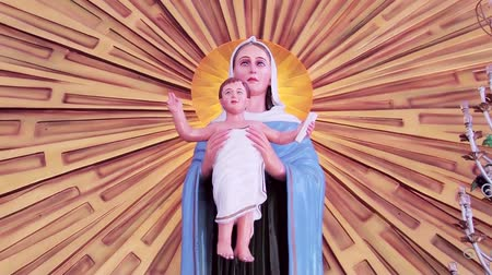 mary : Close-up of Blessed Virgin Mary and Jesus statue. Mother Mary With Child Jesus