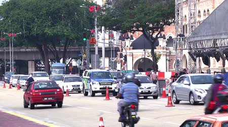 kolejka : traffic jam in city center at malaysia