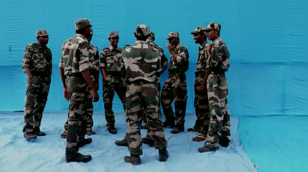 cumhuriyet : Indian army - Blue screen cg concept Stok Video