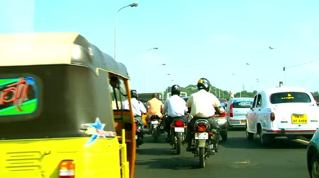 black cab : Busy Traffic Road Street Scene in Chennai city morning day time Stock Footage